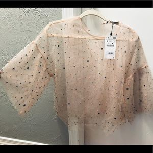 Beautiful see through blouse , embroidered